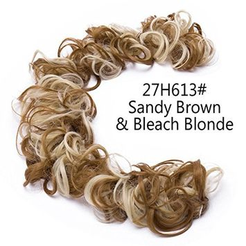 100% Real Flexible Natural Hair Ring Scrunchie Chignon Tray-Messy Bun Wedding Vintage Curly Wave Synthetic Hair Extensions