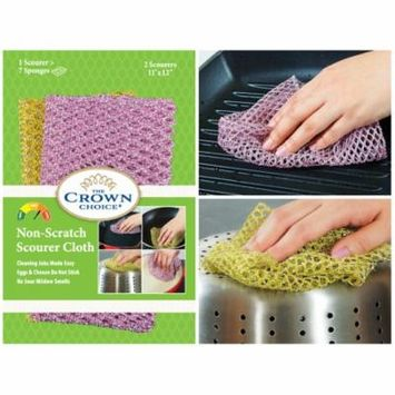 The Crown Choice Non-Scratch HEAVY DUTY Scouring Pad or Pot Scrubber Pads | Nylon Mesh Scrubbing Cloths for Scouring, Dishwashing, Cleaning - 1 Pack of 2 Cloths