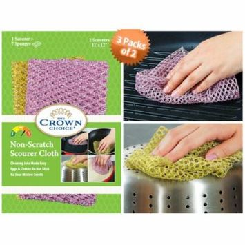 The Crown Choice Non-Scratch HEAVY DUTY Scouring Pad or Pot Scrubber Pads | Nylon Mesh Scrubbing Cloths for Scouring, Dishwashing, Cleaning - 3 Pack of 2 Cloths