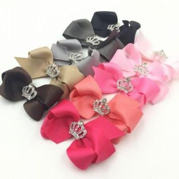(3.15in/10Pcs)Bowknot Crown Clips,Coxeer Alligator Ribbon Hair Bows Clips Crystal Crown Hairpin Hair Accessories for Baby Girls Kids Teens Toddlers Children Women