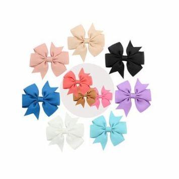 Hair Bowknot Clip, Coxeer 10Pcs Kids Grosgrain Ribbon Alligator Clip Hair Bow Headwear for Children Girls (Random Color)