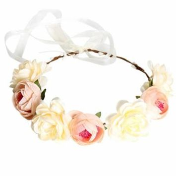 Flower Crown, Coxeer Simulative Boho Style Festival Wedding Hair Wreath Head Flower Headband Handmade Garland for Women Bridal (Khaki)