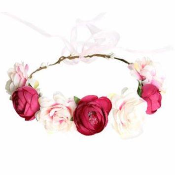 Flower Crown, Coxeer Simulative Boho Style Festival Wedding Hair Wreath Head Flower Headband Handmade Garland for Women Bridal (Rose Red)