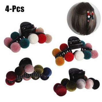 4PCS Jaw Clip Fashion Creative Mix Colors Pom Poms Acrylic Non-Slip Claw Clip Hair Clamp Hair Accessories for Women Girls