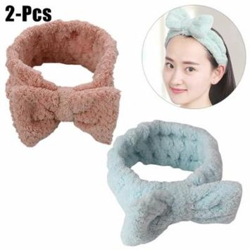 2PCS Makeup Headband Soft Cute Bowknot Lichee Pattern Shower Headband Elastic Headband Mask Headband for Women Girls