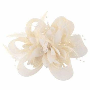 Coxeer Fascinator Flower Feather Decorative Wedding Psrty Hair Piece Hair Accessories for Women