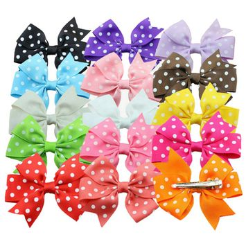 Coxeer, 3.1in/15Pcs Polka Dot Alligator Clips, Ribbon Hair Bows Bowknot Hair Accessories for Toddlers Baby Girls Kids Teens Children Women