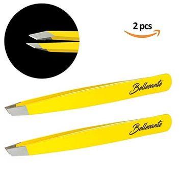 2x Slant Tweezers & Pouch - Premium Surgical Grade Stainless Steel Flat Angled Tweezers Set - Best Professional Eyebrow, Grooming kit, Ingrown Hair,...