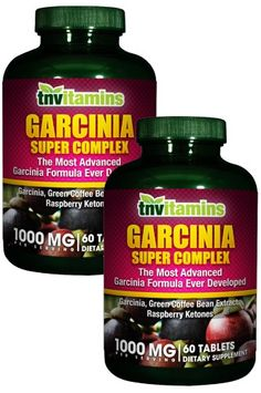 Tnvitamins Garcinia Cambogia With HCA Plus Green Coffee, Raspberry Ketones Plus Chromium