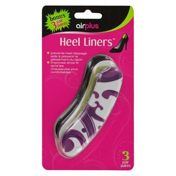 Airplus Fashion Print Heel Liner Shoe Cushion Liner for Comfort and Pain Relief, Womens, 3-Pair