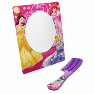 Disney Princess Lavender Colored Kids Comb and Pink Border Mirror
