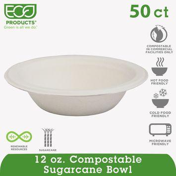 (2 Pack) Eco-Products Renewable & Compostable Sugarcane Bowls - 12oz., 50/PK