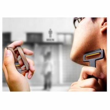Mini Razor Folding Card Type Razor Black Top with Mirror Pocket Cassette Shaver