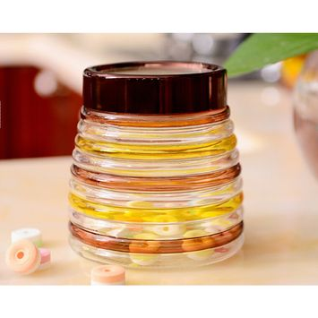Kitchen Spice Bottle Seasoning Jar Colorful Stripe Design Glass Spices Candy Storage Bottle (600ml)