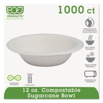 Eco-Products EPBL12 - Compostable Sugarcane Dinnerware, 12 oz. Bowl, Natural White, 1000/Carton