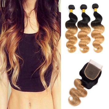 Juyouya Hair Brazilian Ombre Color Body Wave Hair 3 Bundles With Closure Human Hair Extensions 8A Grade 4X4 Lace Closure Color #1B/27