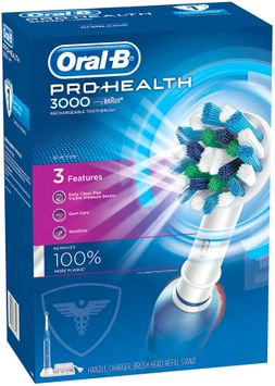 PRO Oral-B Pro-Health 3000 Electric Rechargeable Power Toothbrush Powered by Braun