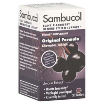 Sambucol Black Elderberry, Original Formula Chewable Tablets, 30 Count (Pack of 4)