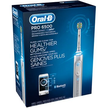 PRO Oral-B Pro 6500 SmartSeries Power Rechargeable Electric Toothbrush with Bluetooth Connectivity Powered by Braun