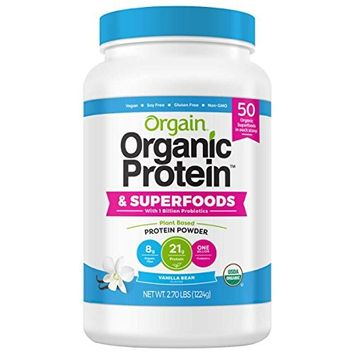 Orgain Vanilla USDA Organic Plant Protein and Superfoods Powder, 2.70-pounds