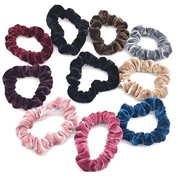 PACK of 10 pcs Velvet Scrunchies Hair Elastics Scrunchy Bobbles Hair Bands Hair Ties …