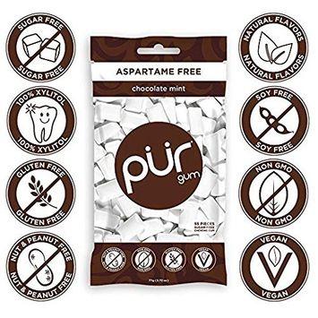 PUR Gum Flavor Assortment Variety Pack (Chocolate Mint & Bubblegum, Pack Of 6)