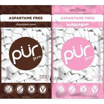 PUR Gum Aspartame-Free Bubblegum and Chocolate Mint, 2.72 Ounces each