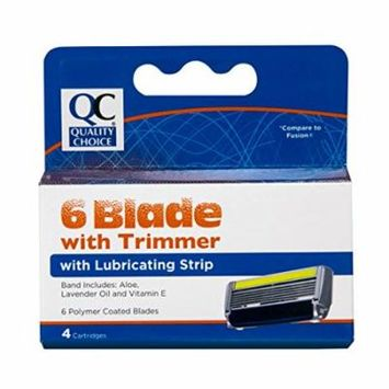 Quality Choice Six Blade Men's Cartridges W/ trimmer 4 Count each