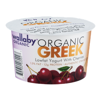 Wallaby Organic Greek Lowfat Yogurt With Cherries