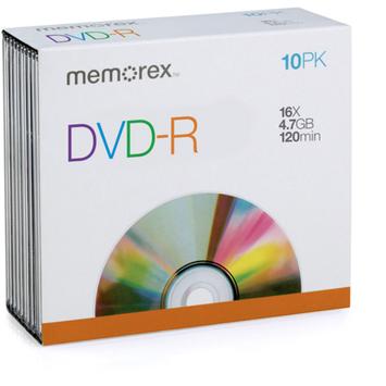 Memorex 4.7Gb/16x DVD-R 10-Pack Slim Case