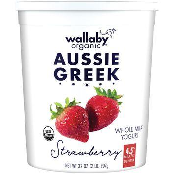 wallaby® organic aussie greek whole milk strawberry yogurt