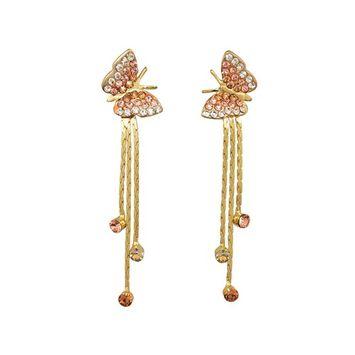 Yidarton Women Jewelry 14k Gold Plated Rhinestone Yellow Butterfly Drop Dangle Earring