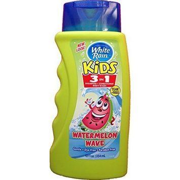 White Rain Watermelon Wave Kids 3 in 1 Shampoo Conditioner Body Wash 12 Oz