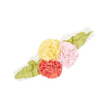 Girls Multi Color Flower Embellished Stretchy Cotton Headband