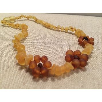 Raw Unpolished Lemon Flower Baltic Amber Teething Baby Necklace for Baby, Babies and Toddler Boy Girl Unisex Infant, and Toddlers will all benefit. Soothing with safety Screw Clasp. Anti-inflammatory, Reduction of Drooling, Red Cheeks, Teething Pain. Highest Quality, individually knotted Gorgeous gift for baby Help for some colic and reflux