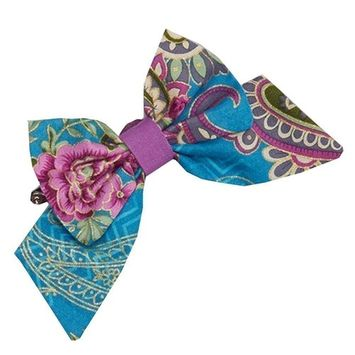 Girls Purple Blue Fuchsia Floral Paisley Mixed Pattern Bow Cotton Hair Clippie