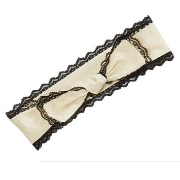 Girls Ivory Black Scalloped Lace Trim Bow Accented Cotton Headband
