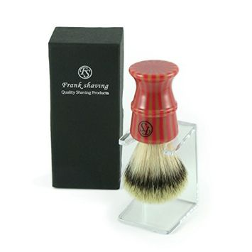 100% Synthetic Purtech Stripey Brush with free Stand - Our newest Synthetic Fiber Silvertip Softness extra dense Compliments any Straight Razor, Double Edge and Safety Razor. The Best Shave