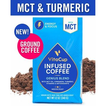 VitaCup Genius Blend Ground Coffee Bags 12oz with MCT, Turmeric, Cinnamon, Vitamins B1, B5, B6, B9, B12, D3 | Keto | Paleo | Whole30 Friendly, for Drip Coffee Brewers and French Press