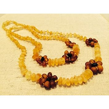 17 AND 12.5 Inch Baltic Amber Teething Necklaces for (Baby & Toddler) PLUS one for mom! adult - Raw Unpolished Lemon with Cognac Flower Flowers Yellow Brown Cherry Cognac Anti-inflammatory, Drooling & Teething Pain Reduce Properties - Growing Pains. Inflammation anti-inflammatory swelling sciatica, arthritis, carpal tunnel, back aches, headaches, Perfect Mother's Day Gift!! Certificated Natural Oval Baltic Jewelry with the Highest Quality Guaranteed. Easy to Fastens with a Twist-in Screw Clasp Mothers Appro