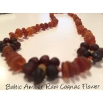 Raw UnPolished Cognac Flower Baltic Amber Teething Baby Necklace for Baby, Babies and Toddler Boy Girl Unisex Infant, and Toddlers will all benefit....