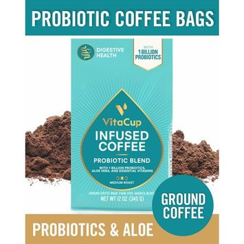 VitaCup Probiotic Blend Ground Coffee Bags 12oz with 1 Billion Probiotics, Aloe Vera, B Vitamins | Keto | Paleo | Vegan | Whole30 for Drip Coffee Brewers and French Press