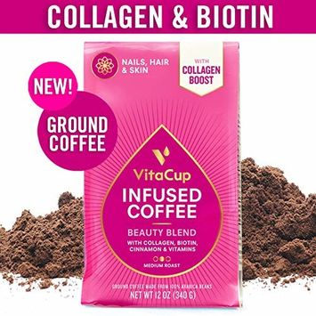 VitaCup Beauty Blend Ground Coffee Bags 12oz with Collagen, Biotin, Folic Acid, Cinnamon | Keto | Paleo | Whole30 | for Drip Coffee Brewers and French Press