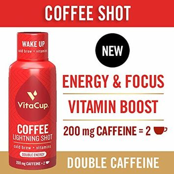 VitaCup Lightning Cold Brew Infused Coffee Shots [4 Pack] 200 mg Double Caffeine from Green Coffee Bean | 2.5 oz Ready to Drink High Energy Boost with Vitamins B1, B5, B6, B9, B12, D3 [Cold Brew]