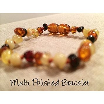 Baltic Amber Teething Bracelet for Babies - Baby, Infant, Toddlers Polished Multi Teething Pain Twist-in Screw Clasp