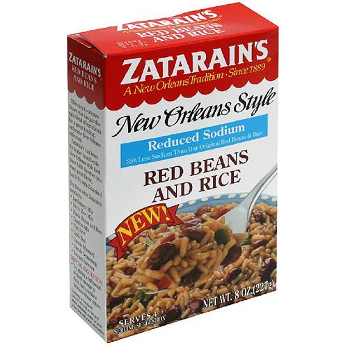 Zatarain's New Orleans Style Reduced Sodium Red Beans and Rice, 8 oz, (Pack of 12)