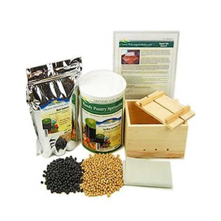 Handy Pantry Deluxe Tofu Making Kit - Wood Mold / Press, Yellow & Black Soybeans