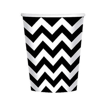 Disposable Paper Cups Chevron Print Fits 8' Tables (18 per Pack), 9 oz, Black/White