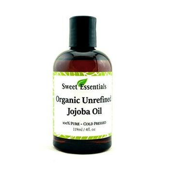 Premium Organic Unrefined Jojoba Oil | 4oz | Imported From Argentina | 100% Pure | Cold Pressed | For Hair, Skin & Nails | Best Natural Moisturizer | Hexane Free