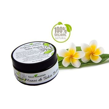 Organic Monoi de Tahiti Butter - 100% Pure Monoi Butter - Large 8oz Jar - Imported From Tahiti | Perfect for Hair, Skin & Nails | Moisturizing - Hydrating - Great Exotic Scent